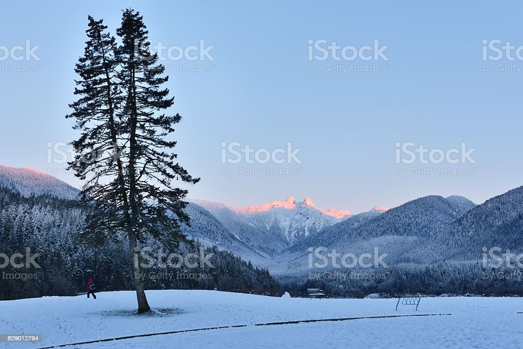 The Lions Mountain Peaks at winer sunrise stock photo
