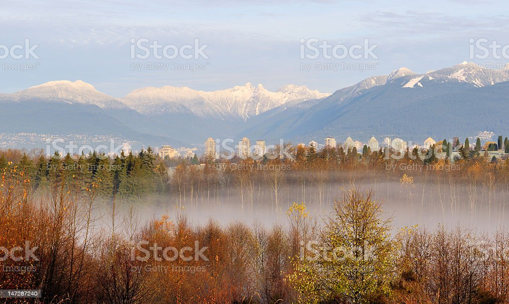 The lions mountain viewed from Burnaby royalty-free stock photo