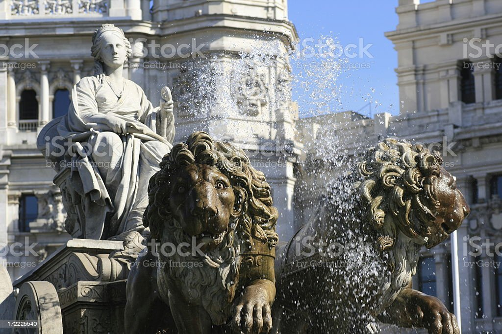 The lions of La Cibeles stock photo