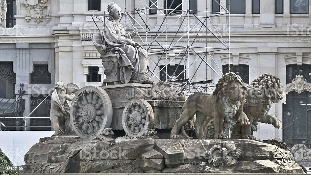 The lions of 'La Cibeles' stock photo
