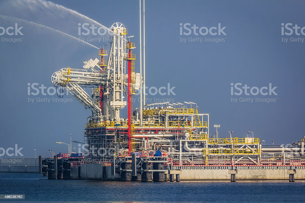 The liquid natural gas offshore terminal stock photo