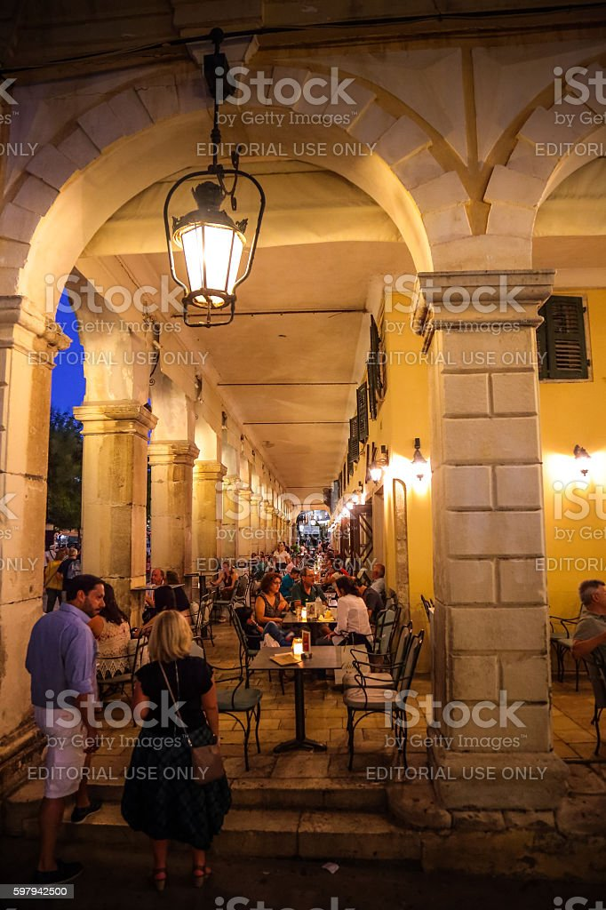 The Liston of Kerkyra Cafes filled with tourists, Corfu, Greece stock photo