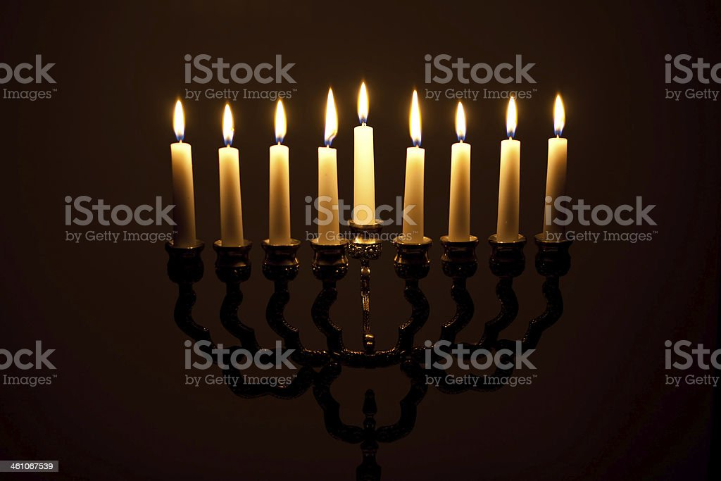 The lit of hanukkah candles royalty-free stock photo