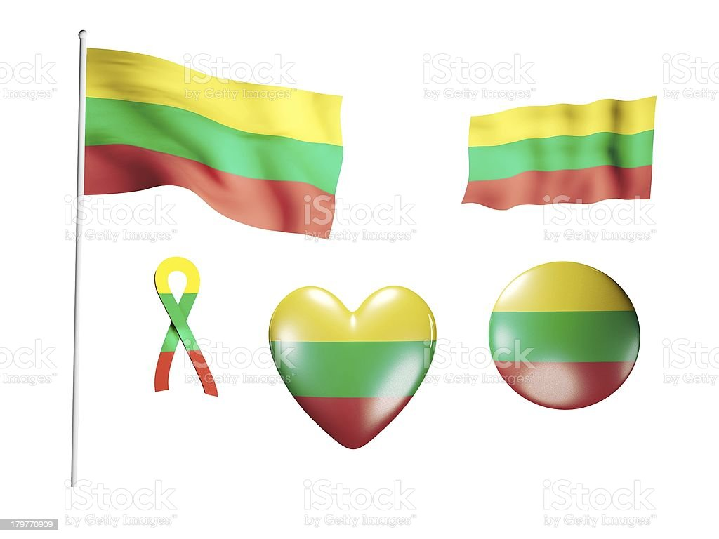 The Lithuania flag - set of icons and flags royalty-free stock photo