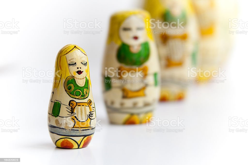 The Littelest Angel: Russian Nesting Dolls Matryoshka in a row royalty-free stock photo
