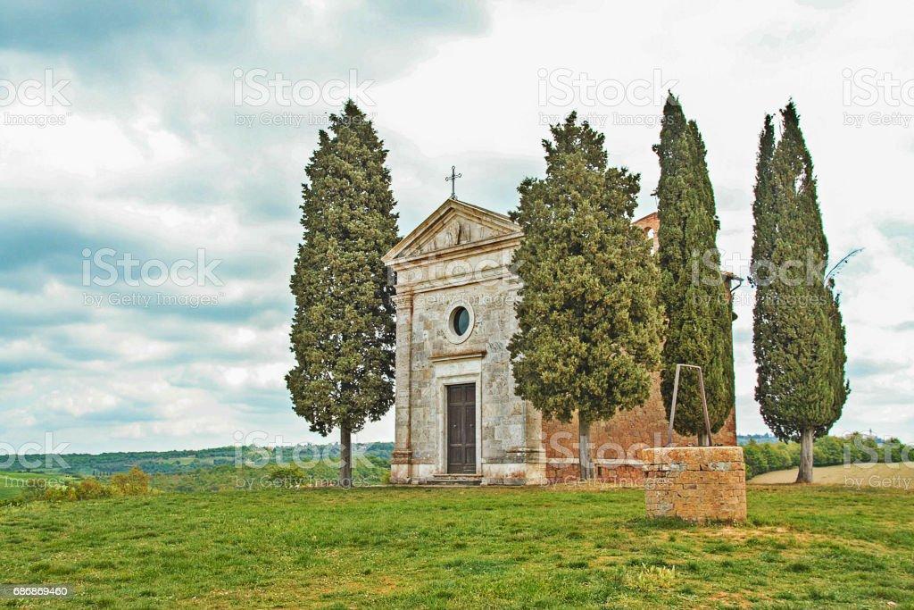 the little church of Vitaleta in Val d'Orcia stock photo