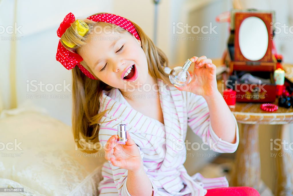 the little girl in pin up style stock photo