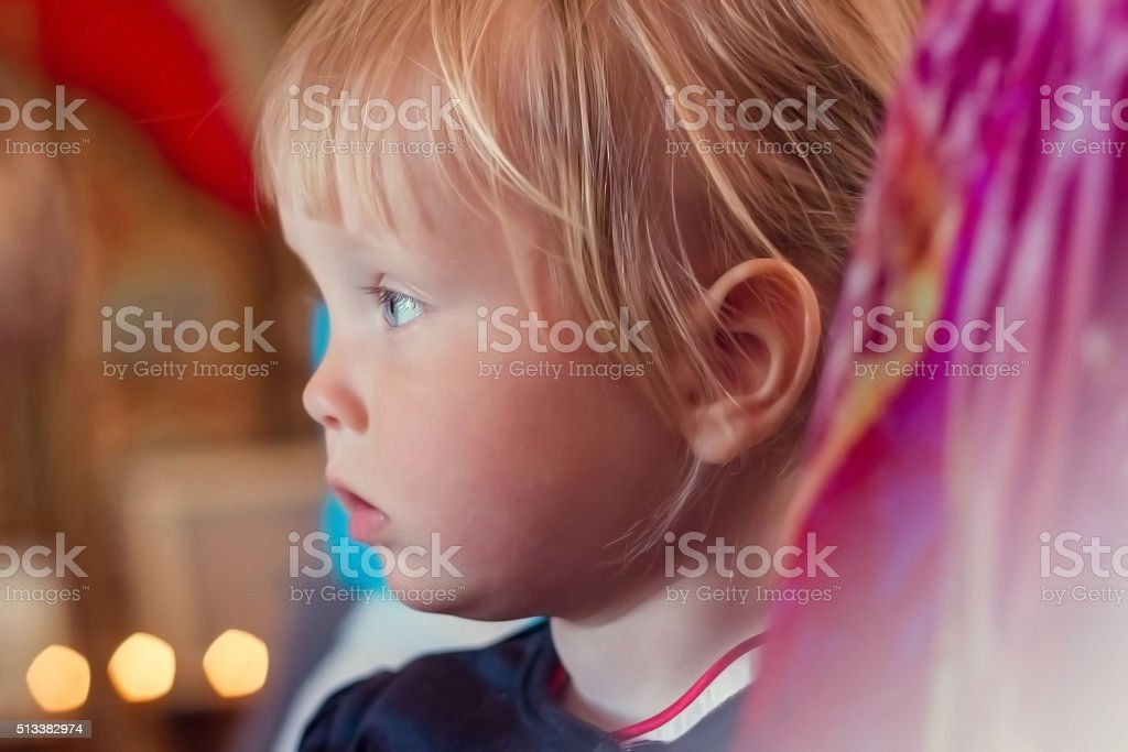 the little girl in the Church stock photo