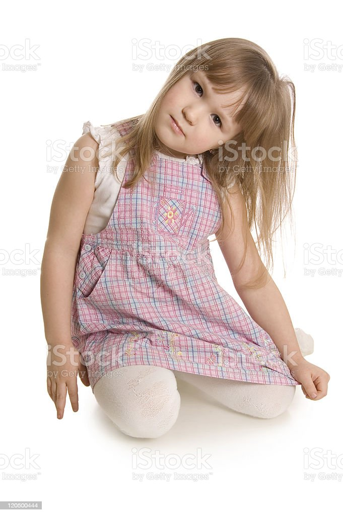 The little girl  isolated on white background stock photo