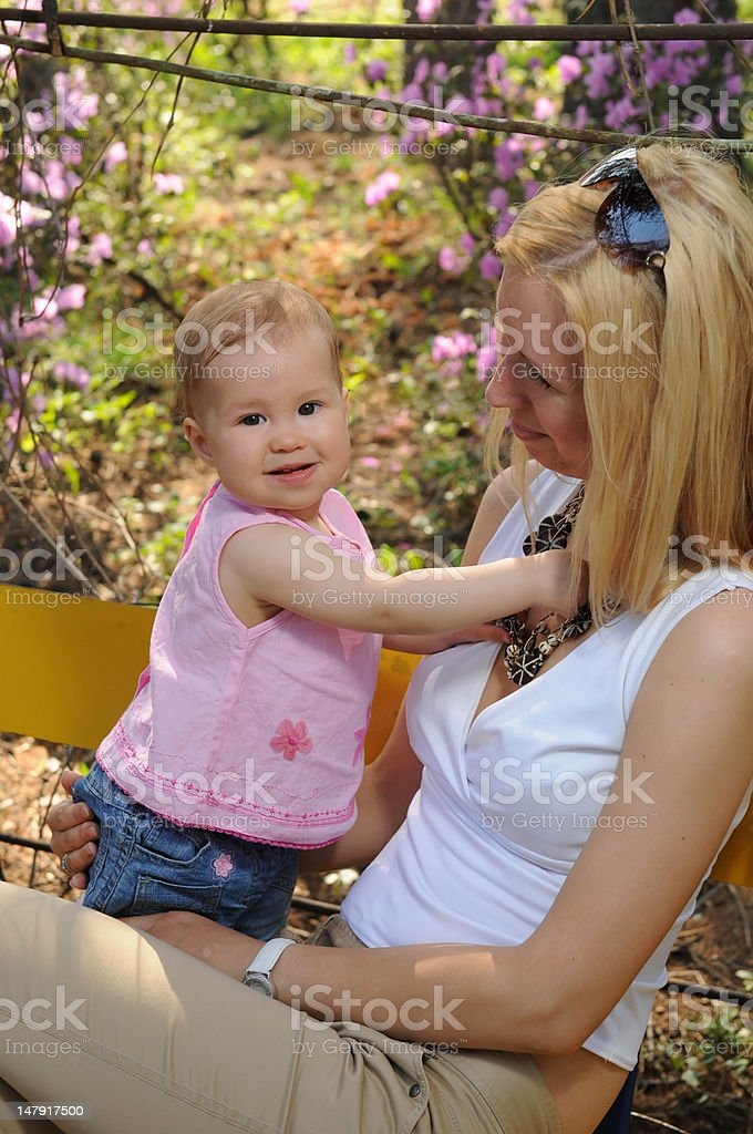 The little girl with mum royalty-free stock photo