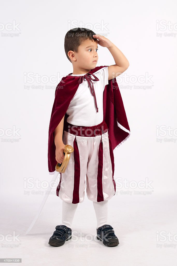 The Little Prince in costume with sword stock photo