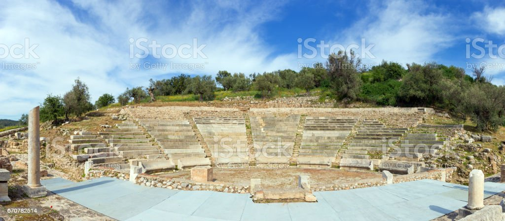 The Little Theatre of Ancient Epidaurus, Peloponnese, Greece stock photo