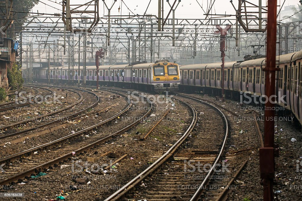 The local train running on one of the many railroads stock photo