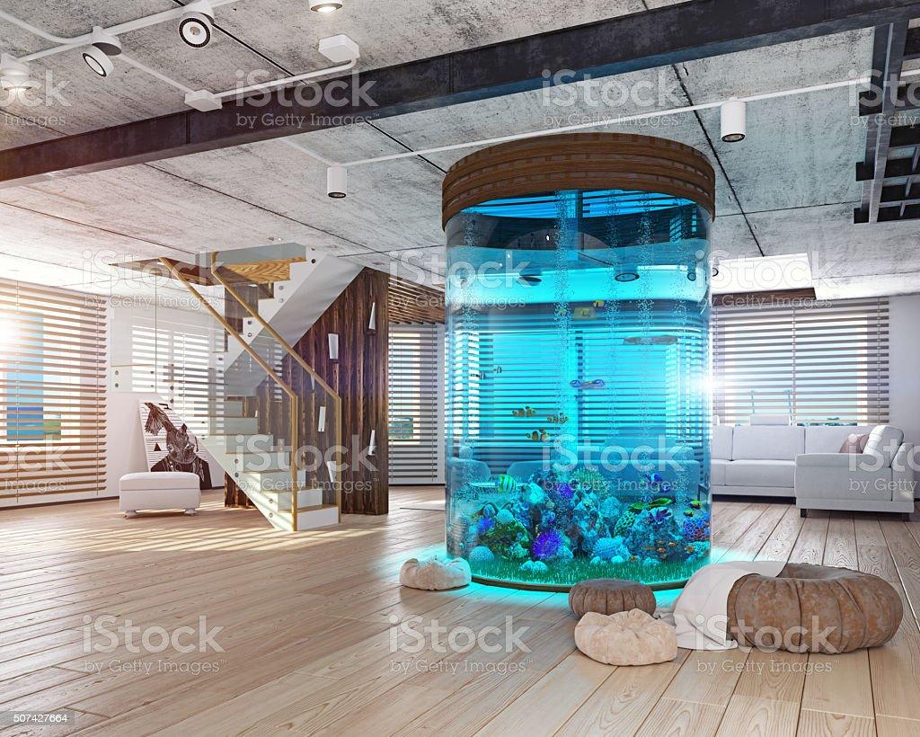 The loft interior with aquarium stock photo