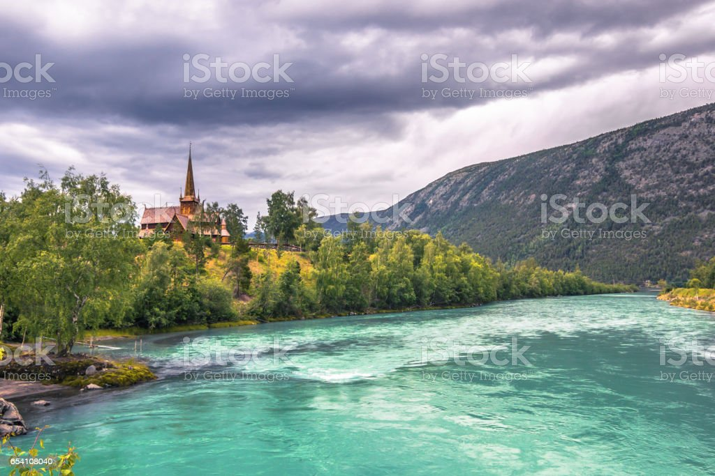 The Lom Stave Church, Norway stock photo