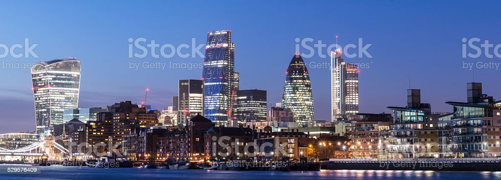The London City Skyline at Night in the UK stock photo