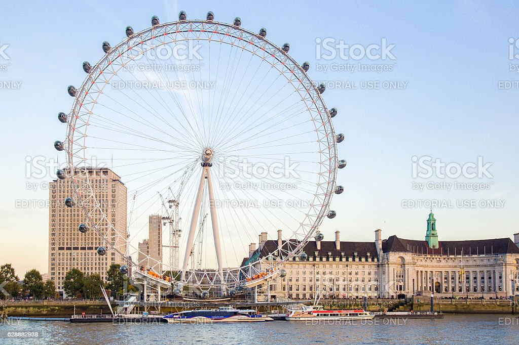 The London Eye and County Hall in the day. stock photo