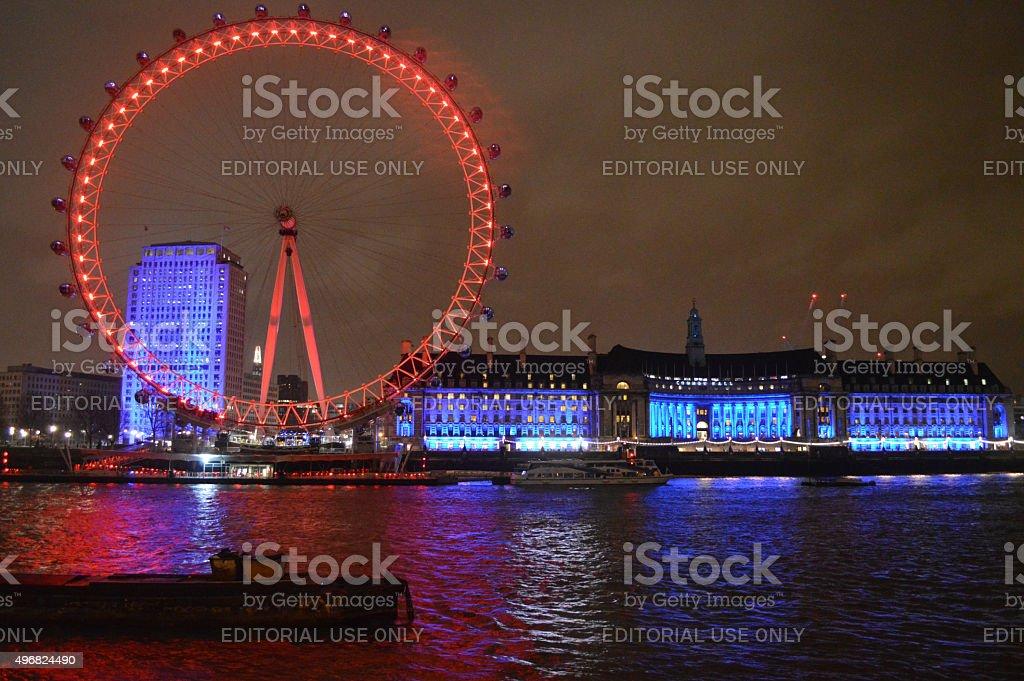 The London Eye at night stock photo