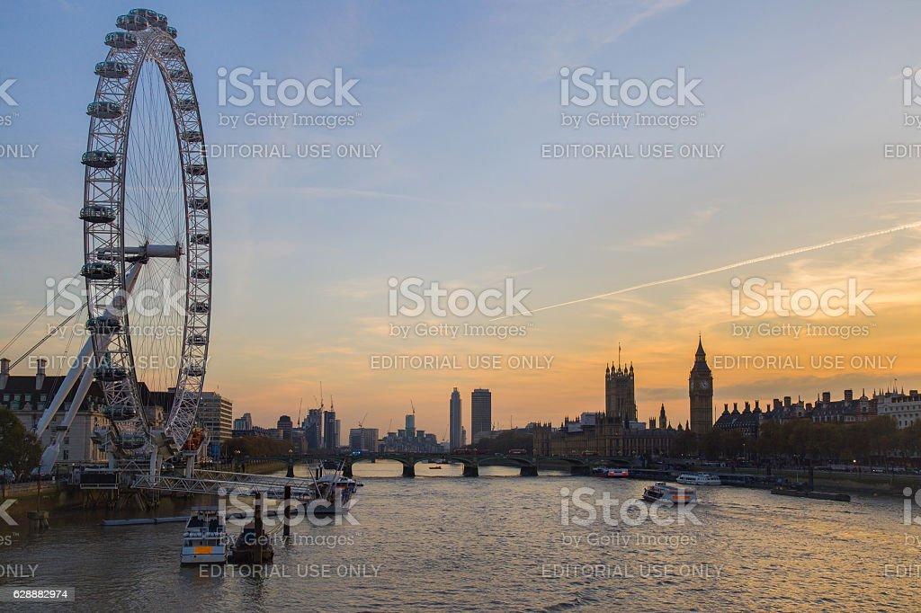 The London Eye in the capital city London. stock photo