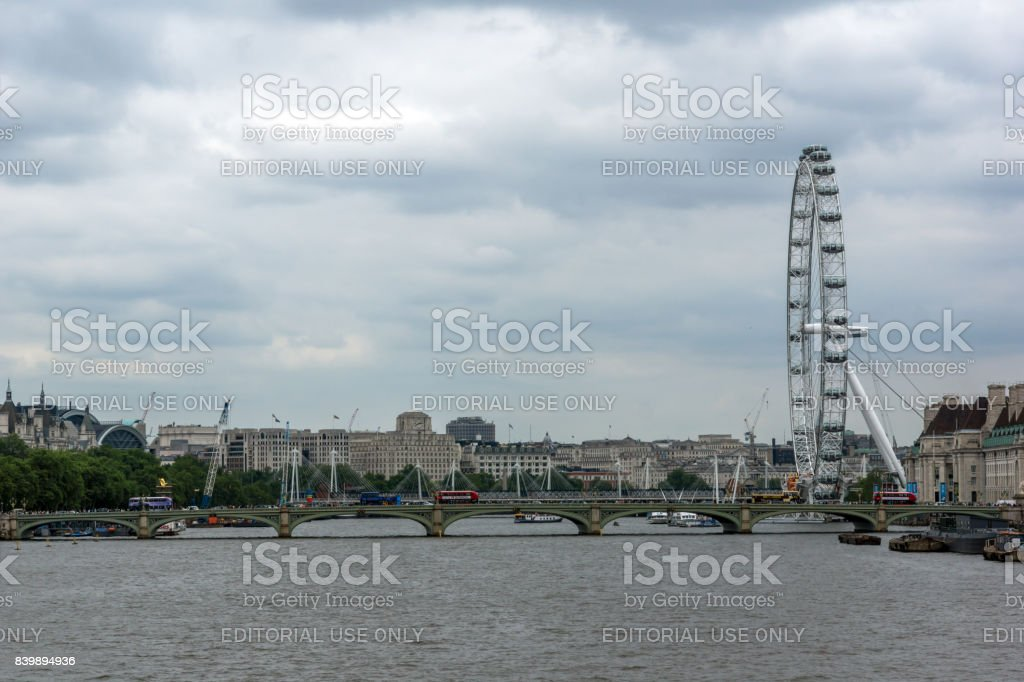 The London Eye on the South Bank of the River Thames in London, England, Great Britain stock photo