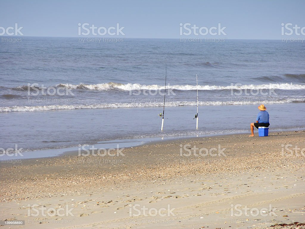 The Lone Fisherman stock photo