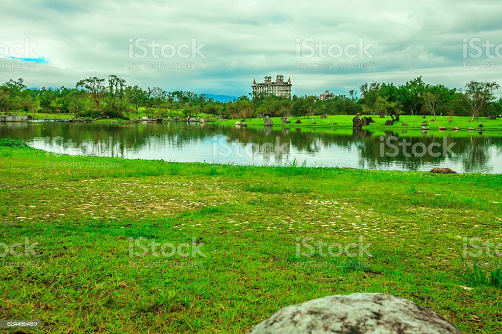 The lonely castle with lake stock photo