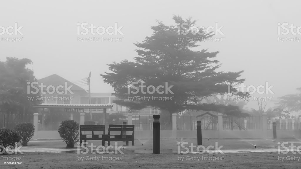 The lonely park infront of the house surrounding by the fog. stock photo