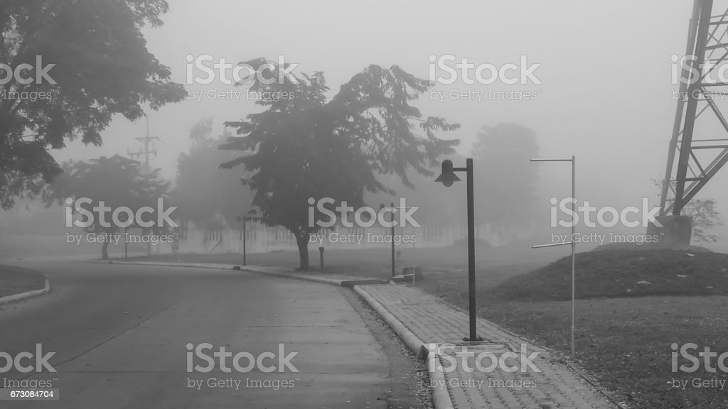 The lonely road in the village. stock photo