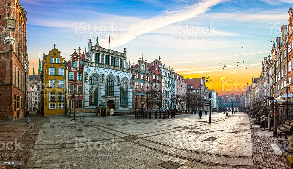 The Long Lane street in Gdansk stock photo