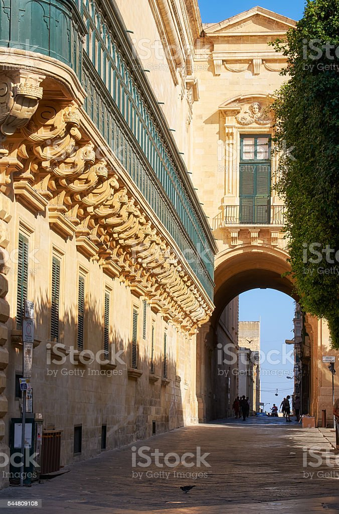 The long wooden balconies on the Grandmaster's Palace, Valletta, Malta stock photo