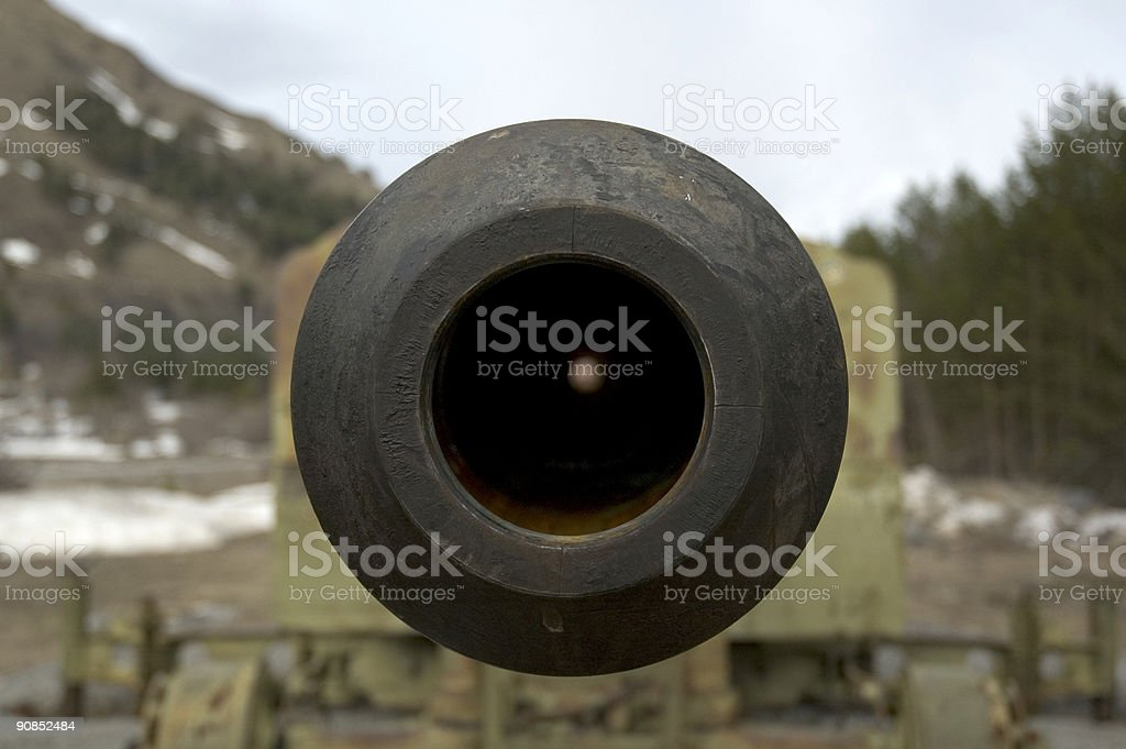 the look of avalanche gun stock photo