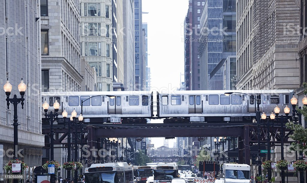 The Loop and El Train in Chicago Downtown stock photo