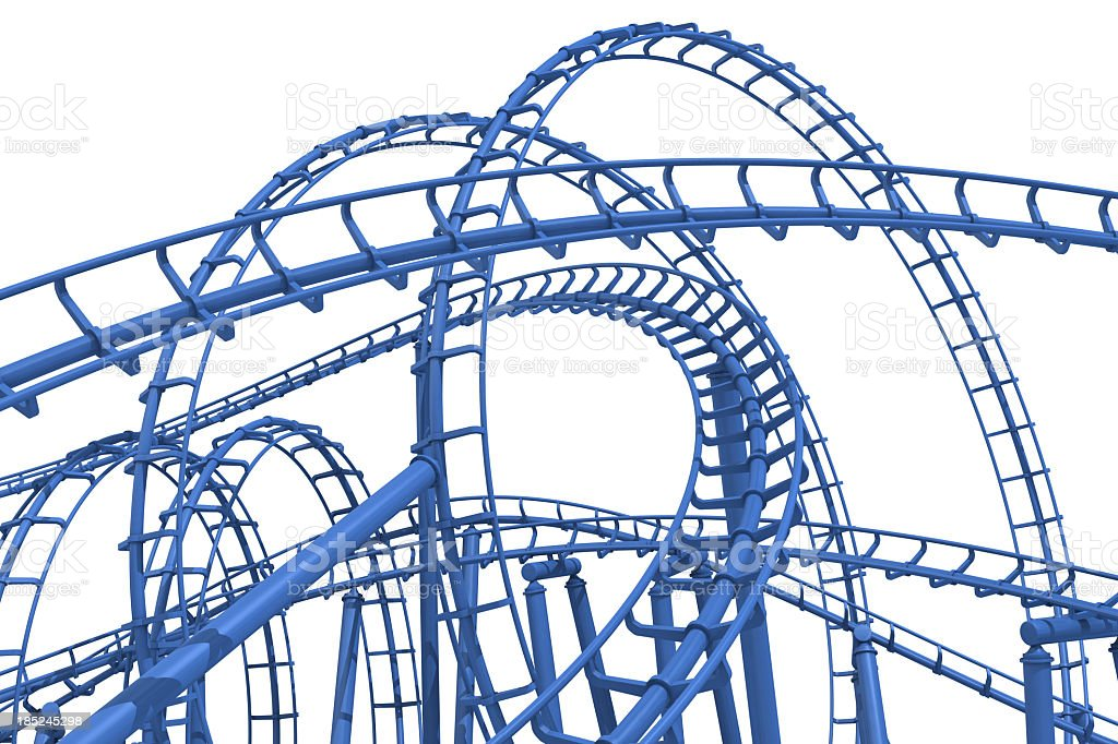 The loops of a blue rollercoaster track stock photo