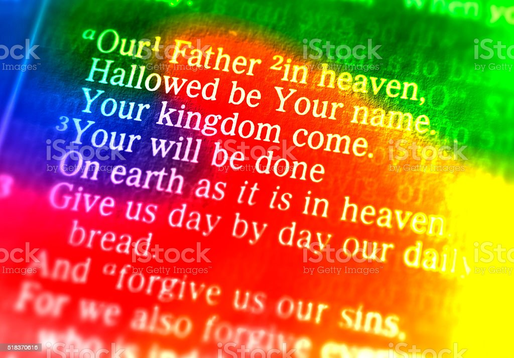 The Lord's Prayer - Our Father in heaven stock photo