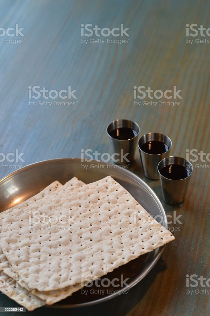 The Lord's Supper with bread and wine stock photo