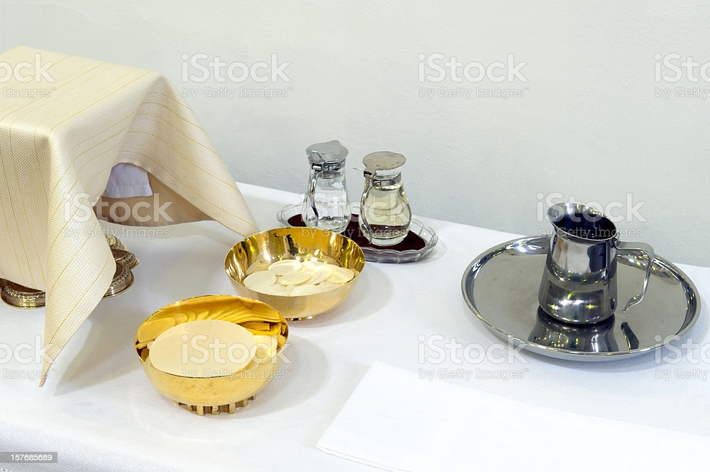 The Lord's Supper with copyspace stock photo