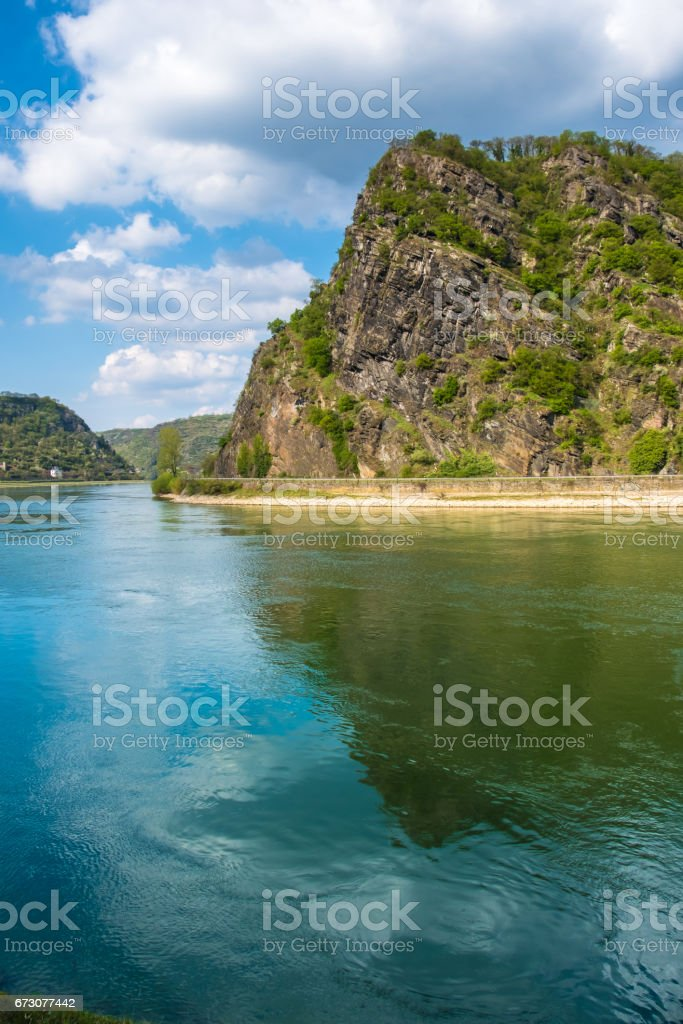 The Lorelei (Loreley) on the right bank of the River Rhine in the Rhine Gorge ( Middle Rhine) at Sankt Goarshausen in Germany. stock photo