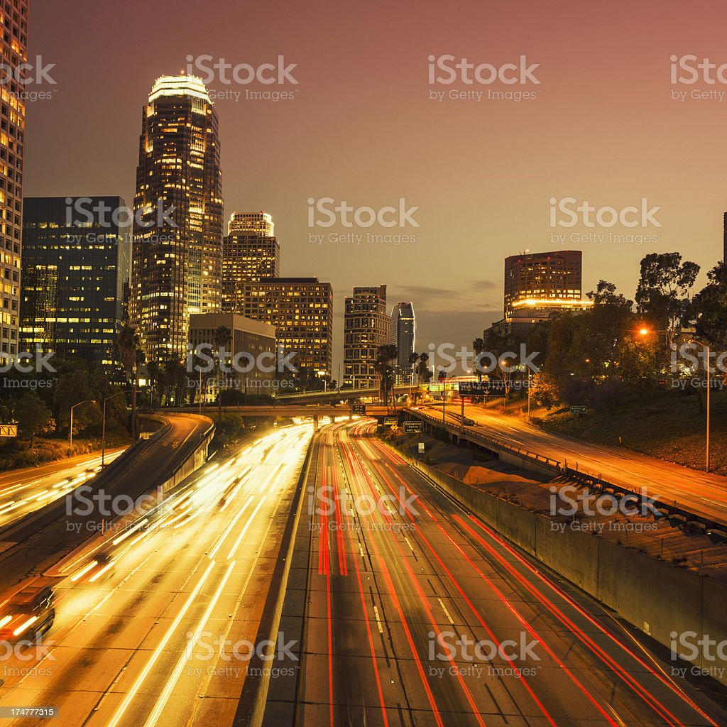 the Los Angeles downtown at midnight rush hour royalty-free stock photo