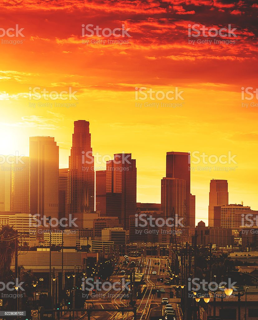 the Los Angeles downtown skyline at sunset stock photo