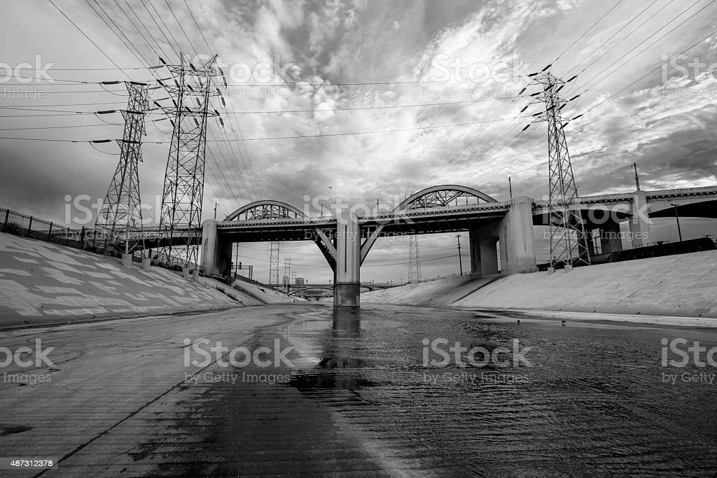 The Los Angeles River and 6th Street Bridge Black and White stock photo