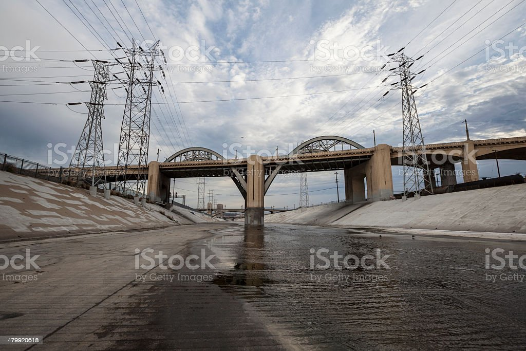 The Los Angeles River and 6th Street Bridge stock photo
