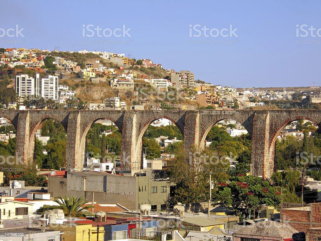 The Los Arcos (aqueduct) of Queretaro, Mexico. stock photo