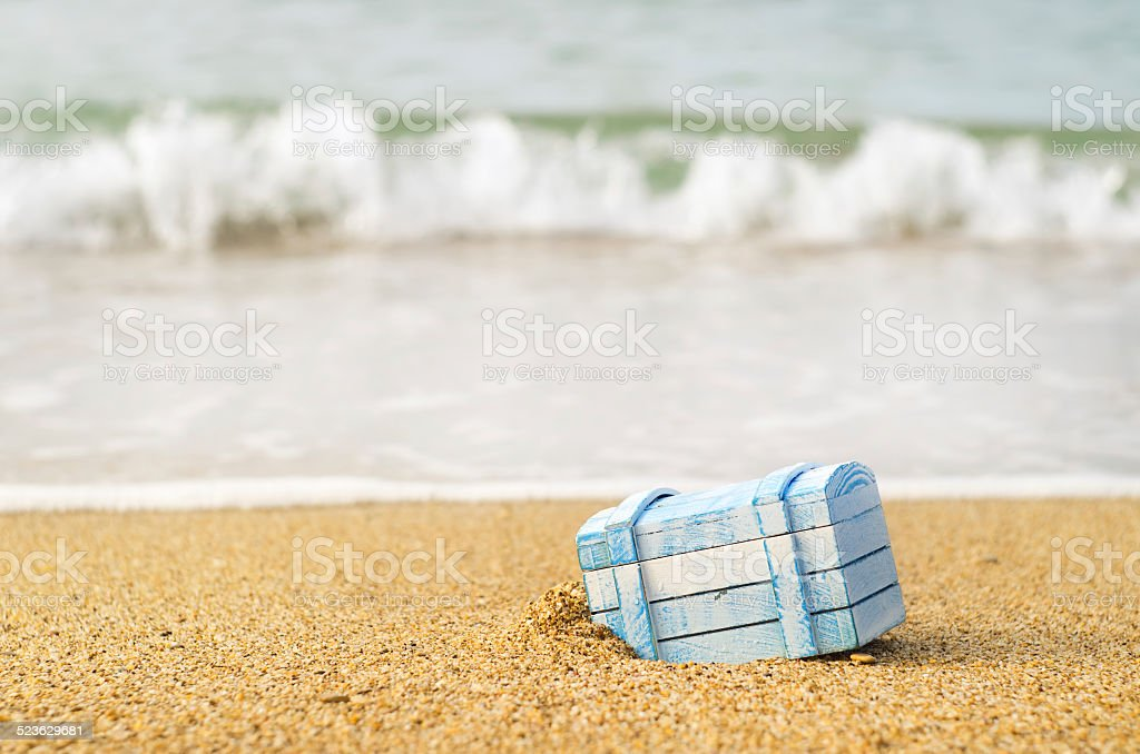 The lost chest  on seacoast stock photo
