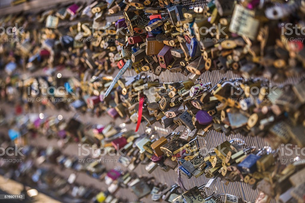 The Love Locks on the Pont des Arts in Paris. stock photo