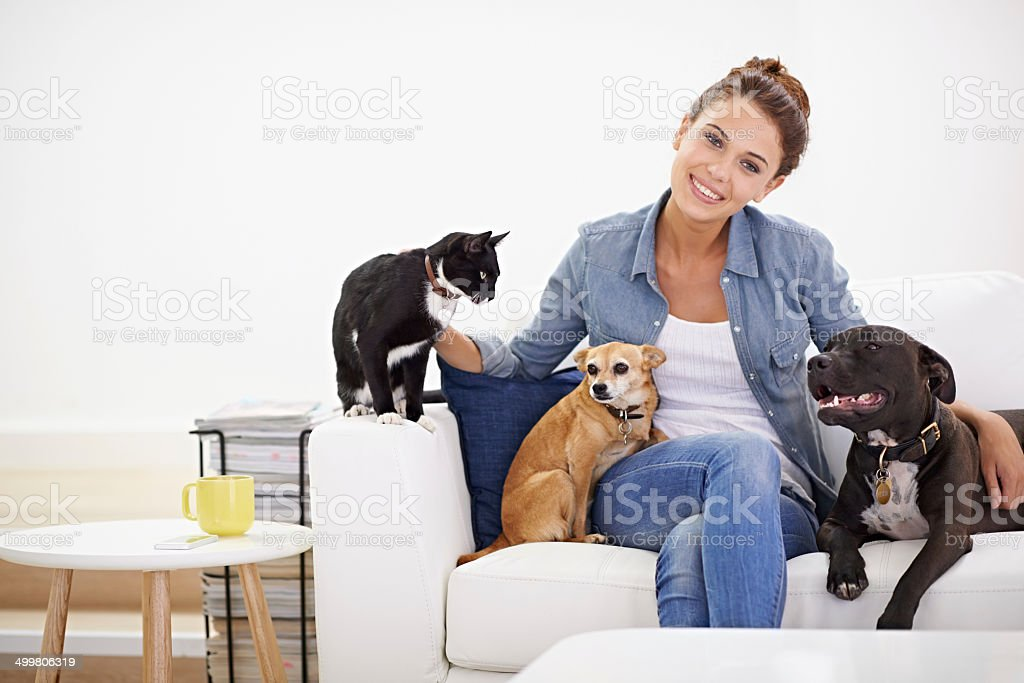 The love rubs off on everybody in her house stock photo