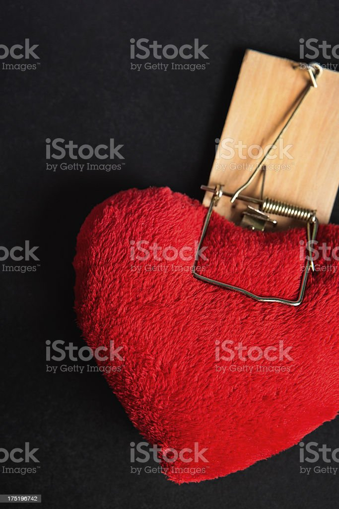 The love trap: mousetrap captures red plush heart royalty-free stock photo