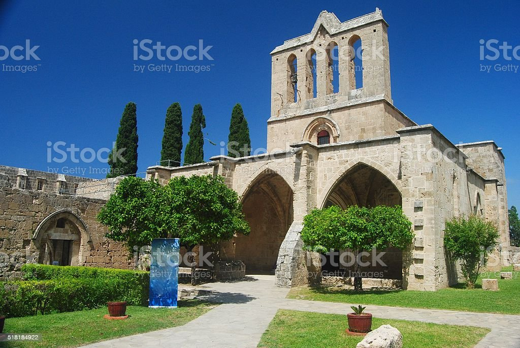 The lovely Augustinian monastery in Bellapais, Cyprus. stock photo