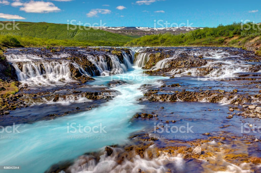 The lovely Bruarfoss waterfall in Iceland stock photo