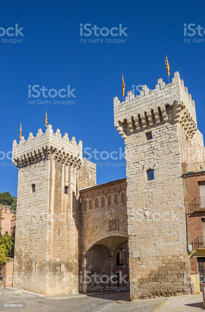 The low gate of medieval city Daroca stock photo