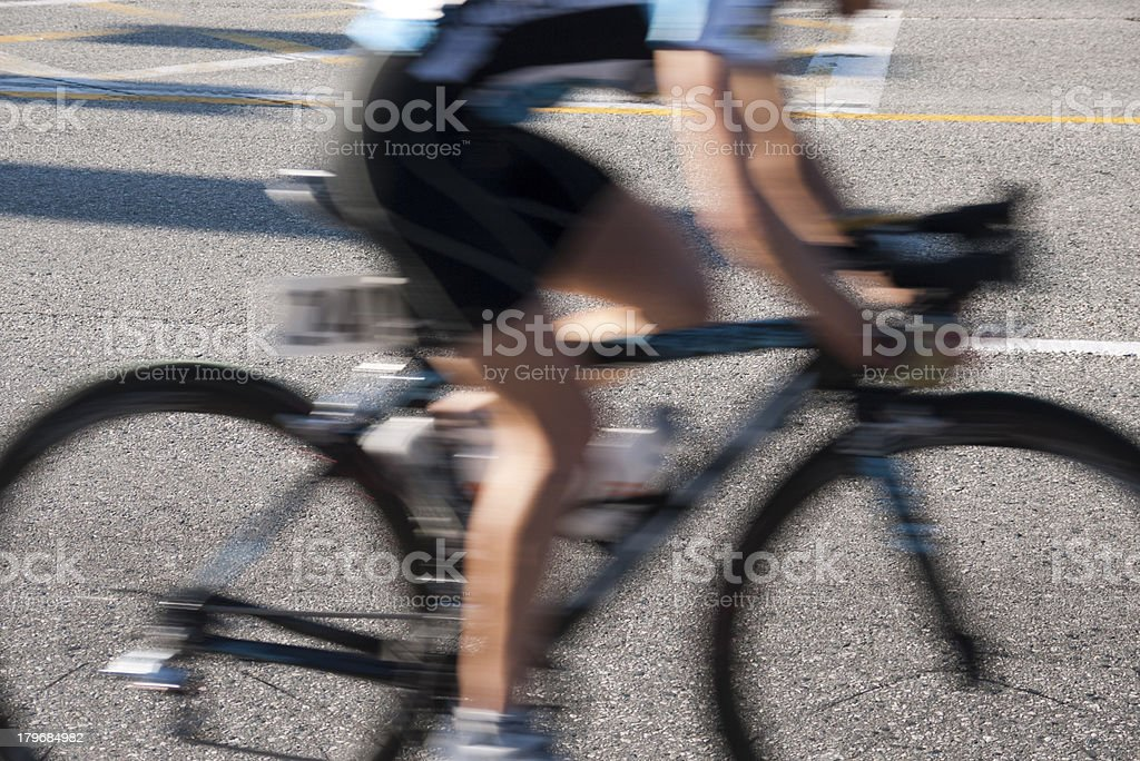 The lower torso of a cyclist while racing - Burnaby royalty-free stock photo